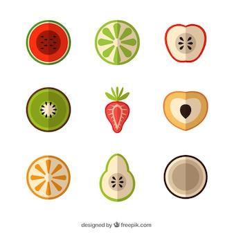 Frutas exóticas en diseño plano