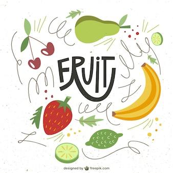 Frutas ilustradas en estilo abstracto