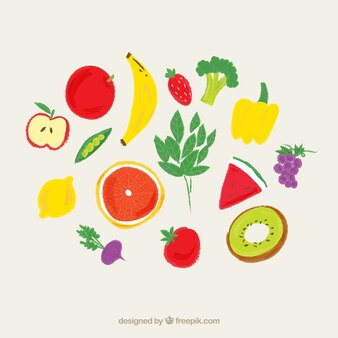 Frutas pintadas a mano