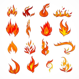 Fuego llama quemadura llamarada decorativo iconos conjunto aislado