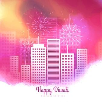 Fuegos artificiales rosados temporada Diwali