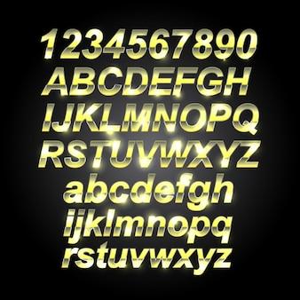 Fuente de letras doradas