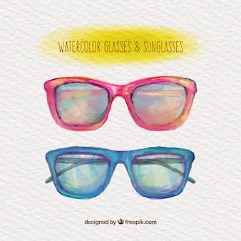 Gafas y gafas de sol de la acuarela