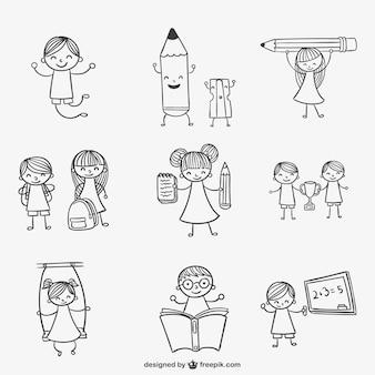 Garabatos de niños en la escuela