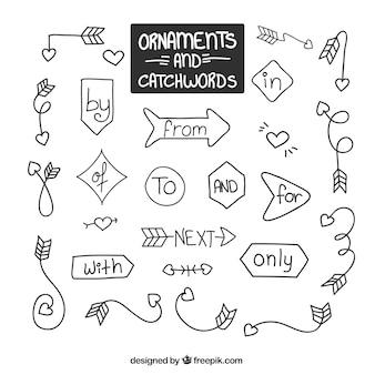 Garabatos de ornamentos con flechas y palabras claves