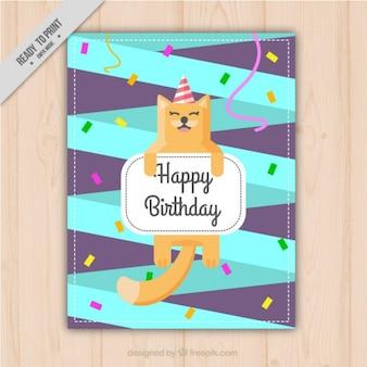Gato feliz en una invitación de cumpleaños