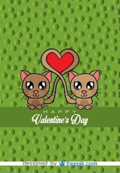 Gatos enamorados - tarjeta de vector de historieta