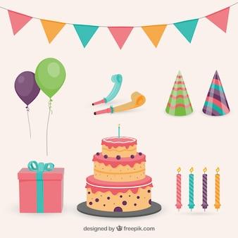 Genial colección de elementos de cumpleaños en diseño plano