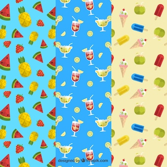Genial colección de patrones veraniegos con bebidas, frutas y helados