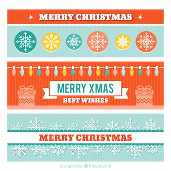 Genial conjunto de banners navideños con luces y copos de nieve