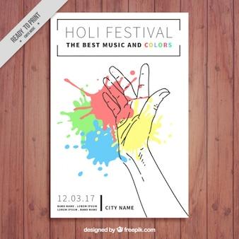 Genial folleto del festival de holi con mano y manchas