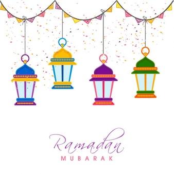 Genial fondo con faroles colgando para ramadan mubarak
