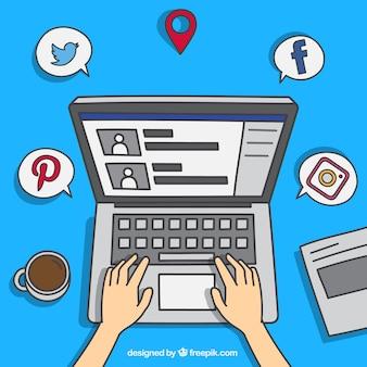 Genial fondo con ordenador y redes sociales
