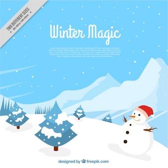 Genial fondo de invierno con árboles y muñeco de nieve en diseño plano