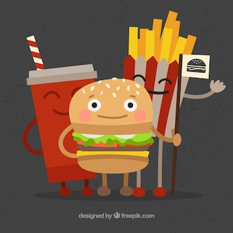 Genial fondo de personajes de comida rápida sonrientes