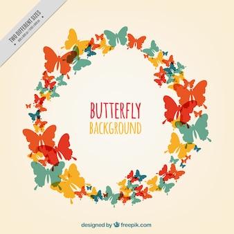 Genial fondo de siluetas de mariposas de colores