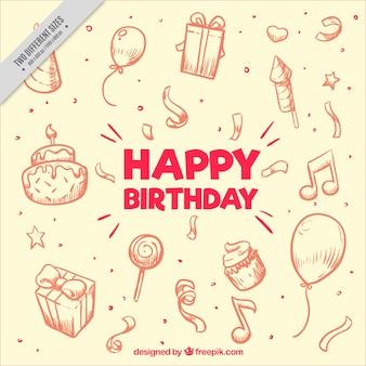 Genial fondo dibujado a mano con artículos de cumpleaños