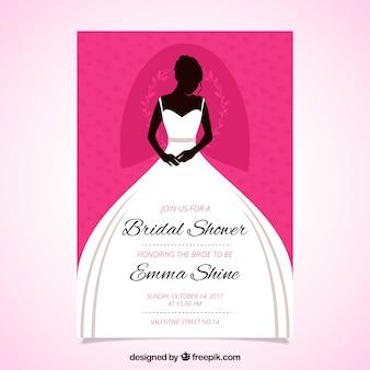 Genial invitación de despedida de soltera con novia llevando el vestido de boda