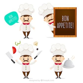 Genial pack de personaje de chef expresivo