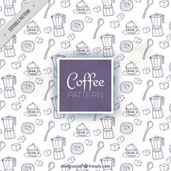 Genial patrón con artículos de café dibujados a mano