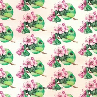 Genial patrón de manzanas verdes y flores en estilo de acuarela