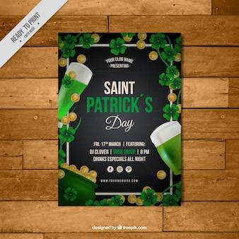 Genial plantilla de folleto con monedas y cervezas para el día de san patricio