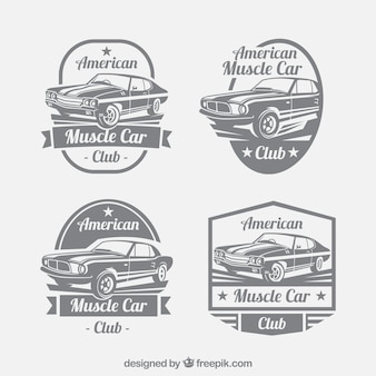 Genial set de logos de coches en estilo retro