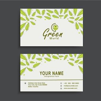 Genial tarjeta de visita con hojas verdes