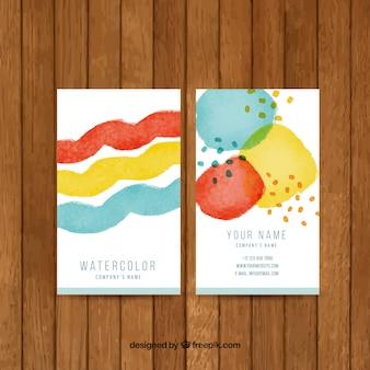 Genial tarjeta de visita con manchas de acuarela de colores