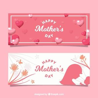 Geniales banners con corazones y flores para el día de la madre