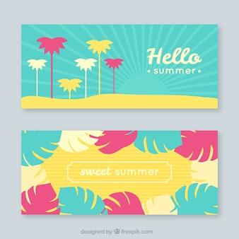 Geniales banners con palmeras y hojas en diseño plano