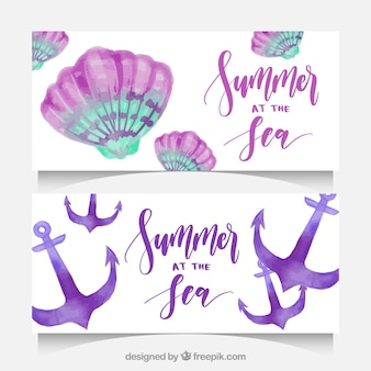 Geniales banners veraniegos con conchas marinas y anclas en estilo de acuarela
