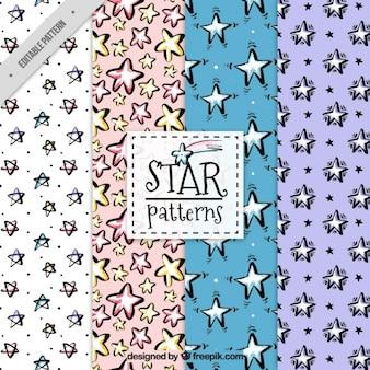 Geniales patrones de acuarela con diferentes tipos de estrellas