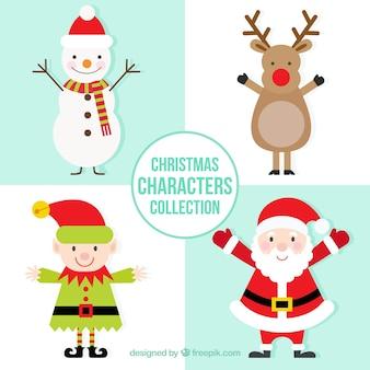 Geniales personajes navideños en estilo plano