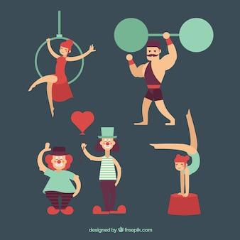 Gente de circo en un diseño plano