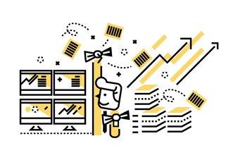 Gente de negocios exitosos de jugar el stock. elementos de diseño de líneas delgadas planas. ilustración vectorial