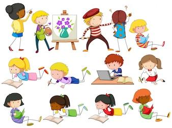Gente haciendo diferentes actividades ilustración
