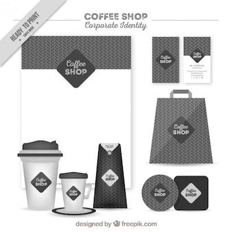 Geométrica cafetería gris identidad corporativa