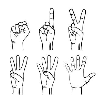 Gestos de dedos dibujados a mano