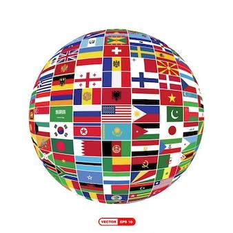 Globo terráqueo de banderas