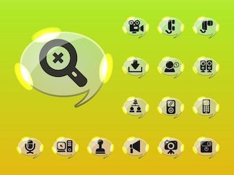 Glossy ordenador iconos conjunto de vectores