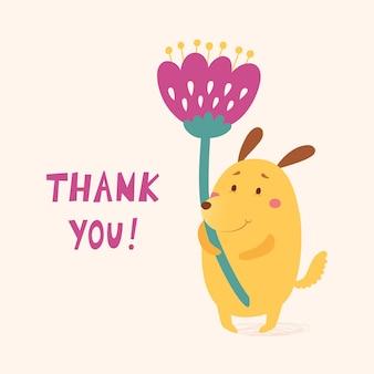 Gracias tarjeta vector con lindo perro