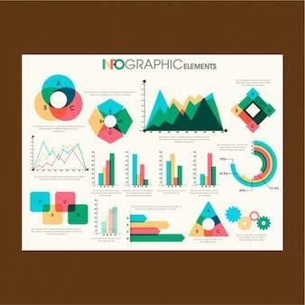 Gráficos coloridos para infografías en diseño plano