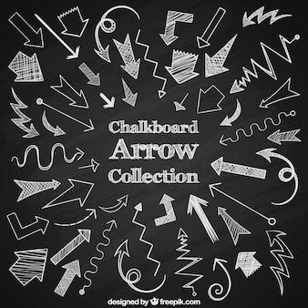Gran colección de flechas dibujadas con tiza
