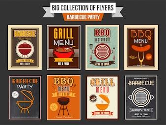 Gran colección de panfletos de la fiesta de barbacoa o diseño de plantillas