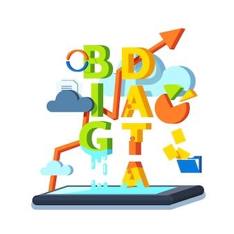 Gran información, cloud computing y concepto de almacenamiento.