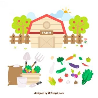 Granero con vegetales y herramientas de granja planas