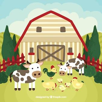 Granja con vacas y gallinas
