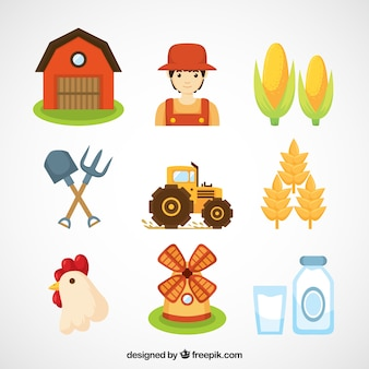 Granjero y objetos de granja esenciales