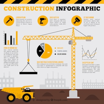 Grúa con elementos amarillos infográficos